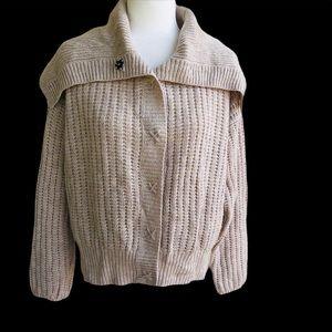 Moda Int. Shawl Collar Chunky Wool Knit Cardigan